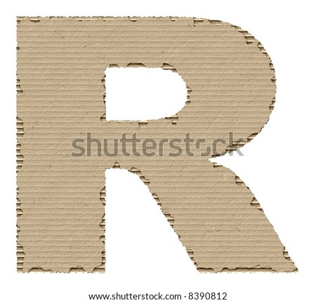letter R made of torn cardboard