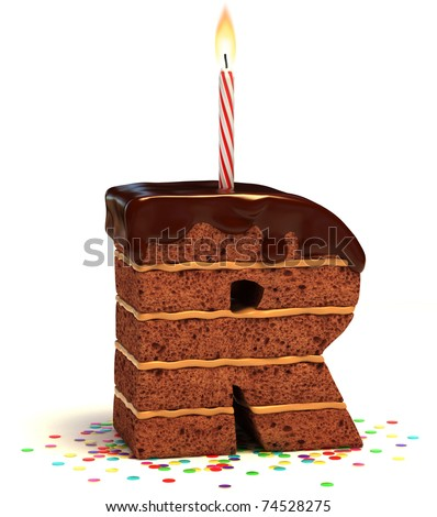 letter R shaped chocolate birthday cake with lit candle and confetti isolated over white background 3d illustration