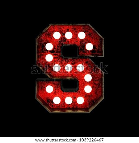 Letter S. Broadway Style Light Bulb Font made of rusty metal frame. 3d Rendering isolated on Black Background