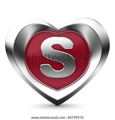 S Alphabet Letter In Heart Alphabet A In Heart Alphabet of hearts - stock