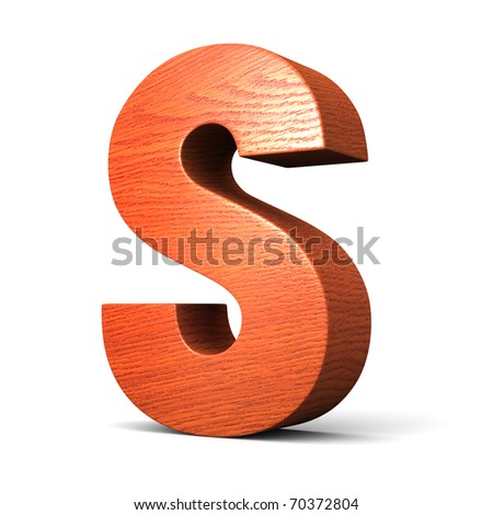 Letter S from redwood alphabet. There is a clipping path