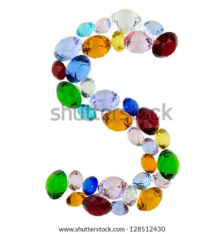 Letter S made of different colorful gems