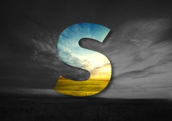 Letter S Made of landscape Typographic, Monogram