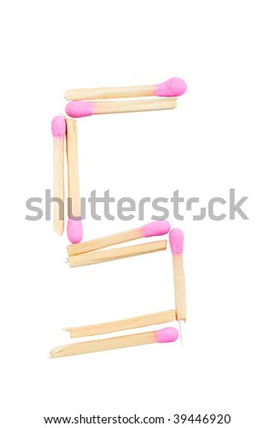 Letter S made of matches isolated on white with clipping path #39446920