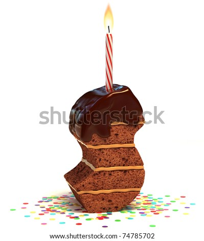 letter S shaped chocolate birthday cake with lit candle and confetti isolated over white background 3d illustration