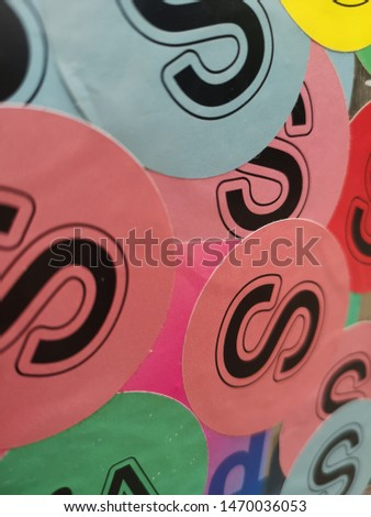 letter s stickers al collors #1470036053