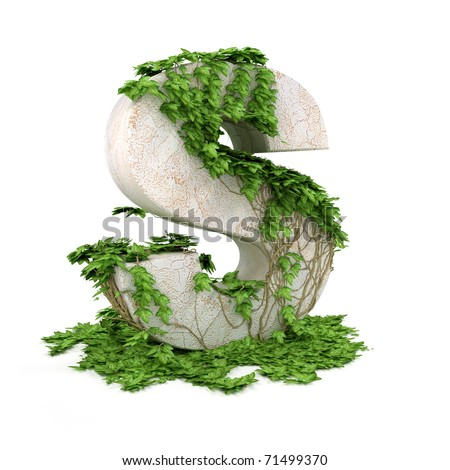 Letter S threads covered with ivy isolated on white background.