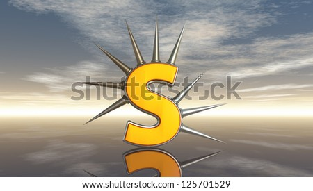 letter s with metal prickles under cloudy blue sky - 3d illustration