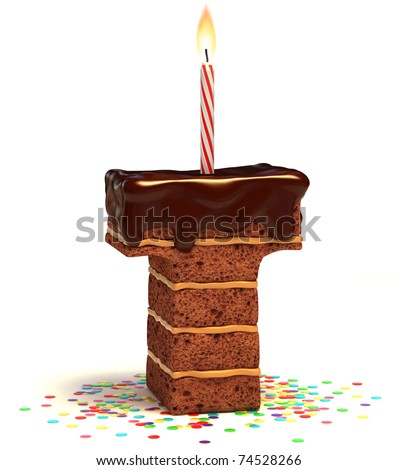 letter T shaped chocolate birthday cake with lit candle and confetti isolated over white background 3d illustration
