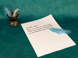 Letter to dreams written with a blue quill pen on letter writing day