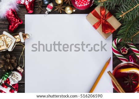 letter to santa claus with christmas colorful  decoration on wood table  #516206590