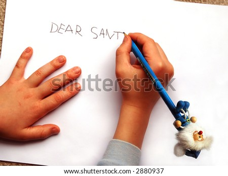 Letter to Santa, written by a little boy with a blue funny pencil