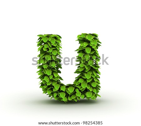 Letter  u, alphabet of green leaves, small caps