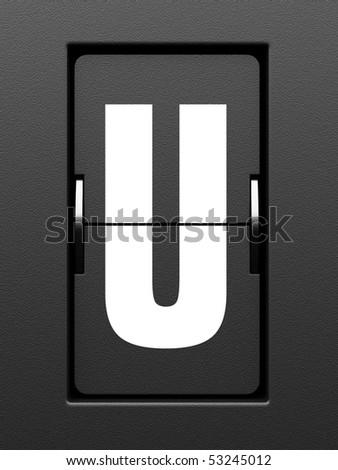 Letter U from mechanical scoreboard alphabet
