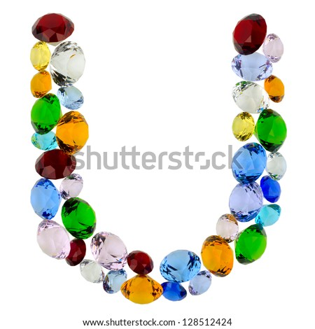 Letter U made of different colorful gems