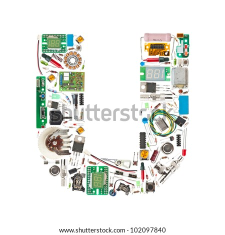 Letter 'U' made of electronic components isolated in white background