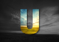 Letter U Made of landscape Typographic, Monogram