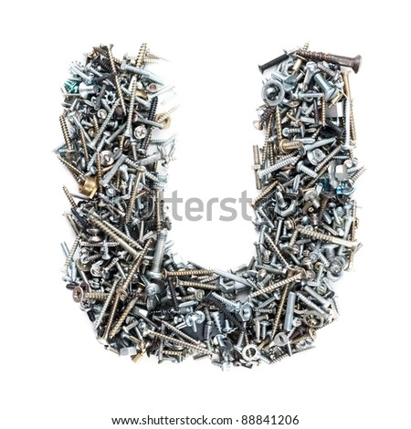 Letter 'U' made of screws isolated in white background
