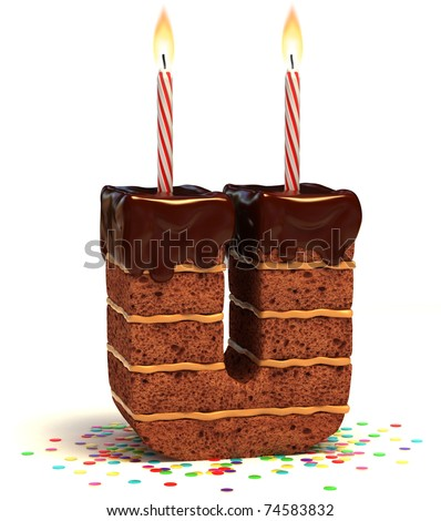 letter U shaped chocolate birthday cake with lit candle and confetti isolated over white background 3d illustration