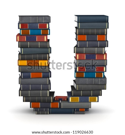 Letter U, stacked from many encyclopedic books in pile