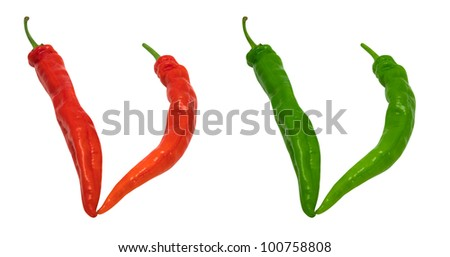 Letter V composed of green and red chili peppers. Isolated on white background