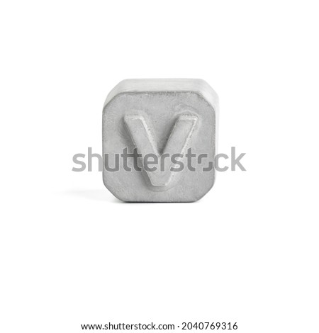 Letter V. Gray concrete alphabet isolated on white background. Photo stock ©