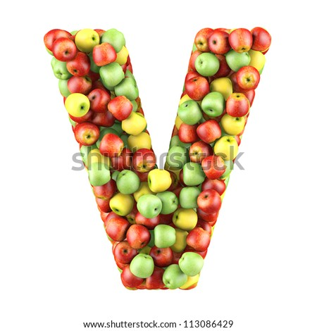 Letter - V made of apples. Isolated on a white.