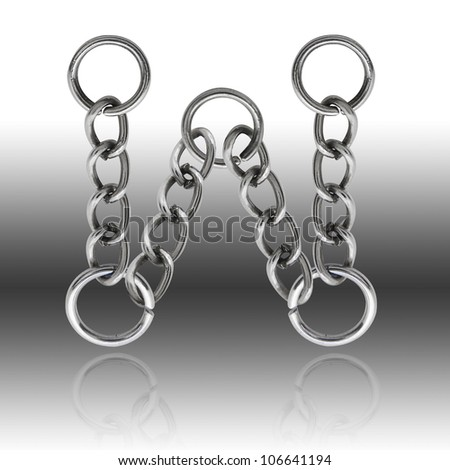 """Letter """" W """" alphabet chain  (Clipping Path)"""