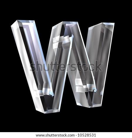letter W in glass 3D