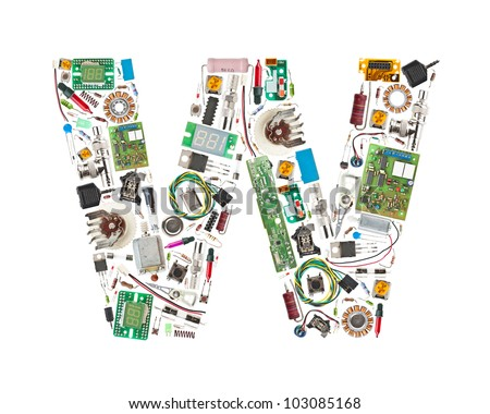 Letter 'W' made of electronic components isolated in white background