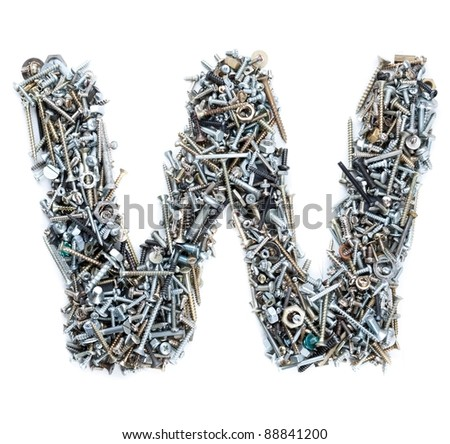 Letter 'W' made of screws isolated in white background