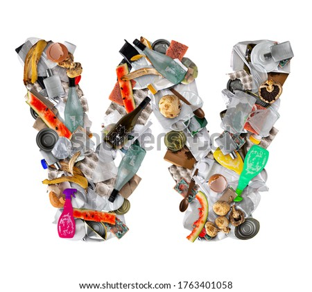 Letter W made of trash isolated on white background Zdjęcia stock ©