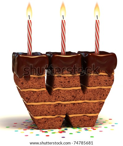 letter W shaped chocolate birthday cake with lit candle and confetti isolated over white background 3d illustration
