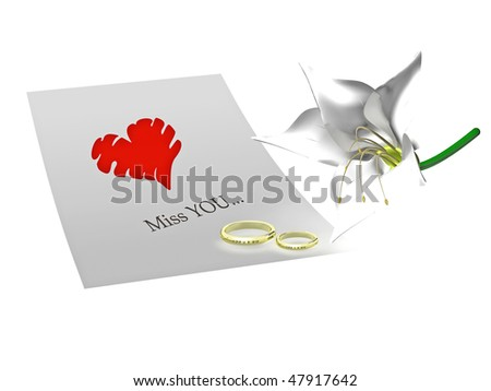 Letter with heart , two rings and flower