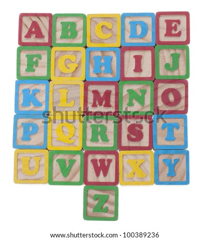 Letter wooden cubes with english alphabet