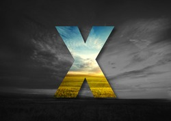 Letter X Made of landscape Typographic, Monogram