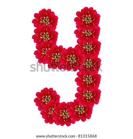 Letter Y from red flowers