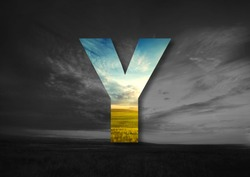 Letter Y Made of landscape Typographic, Monogram