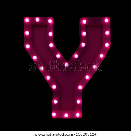 letter Y with neon lights isolated on black background