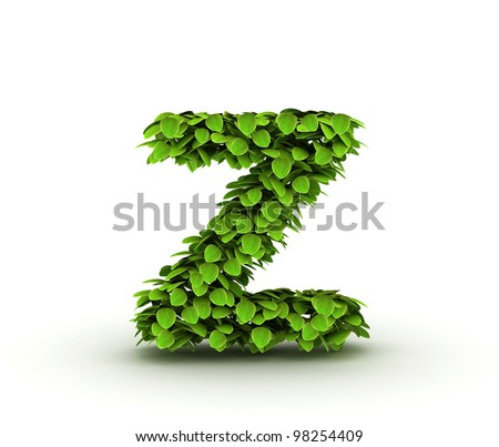 Letter  z, alphabet of green leaves, small caps - stock photo