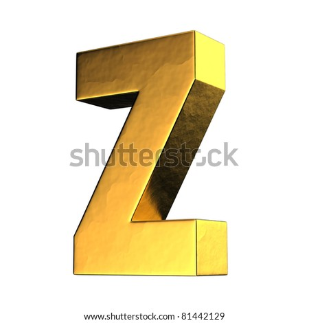 Letter Z from gold solid alphabet. There is a clipping path