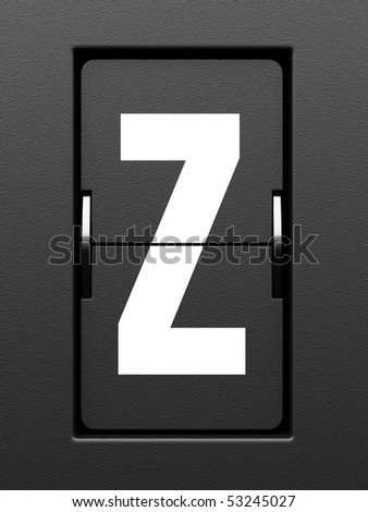 Letter Z from mechanical scoreboard alphabet