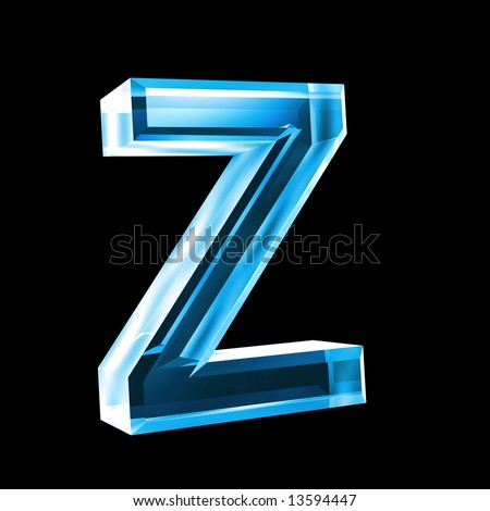 letter Z in blue glass 3D  Z Logo 3d