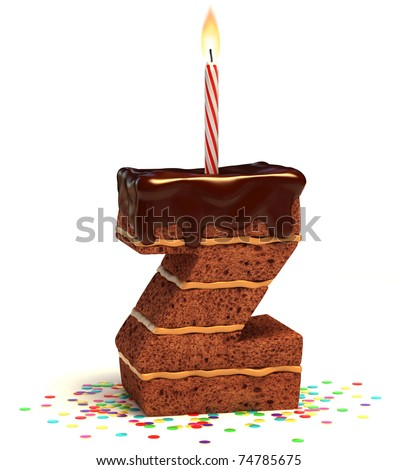 letter Z shaped chocolate birthday cake with lit candle and confetti isolated over white background 3d illustration