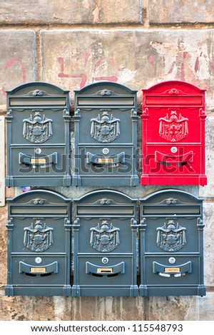 Letterboxes on a side street in Rome, Italy