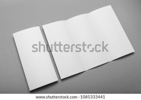 Letterhead blank mockup, trifold leaflet DL flyer template. #1085333441