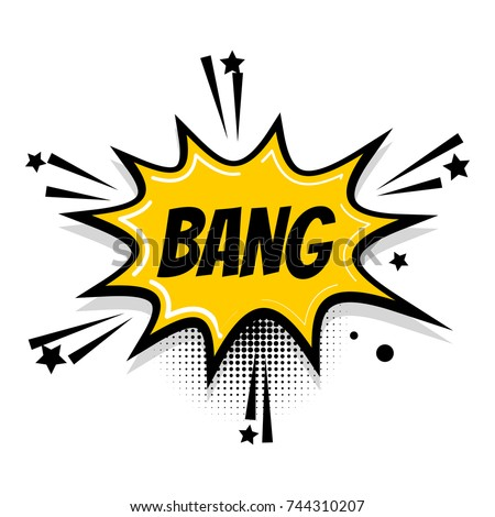 Lettering bang boom star. Comics book balloon. Bubble icon speech phrase. Cartoon exclusive font label tag expression. Comic text sound effects. Popart speed line. Sound illustration. Stockfoto ©