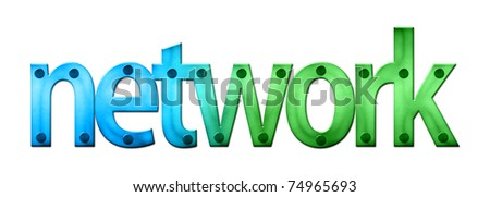 Lettering Network in blue and green tones (raster illustration on white background)