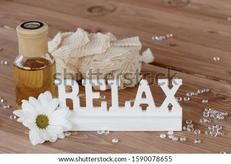 Lettering Relax with aromatic oil
