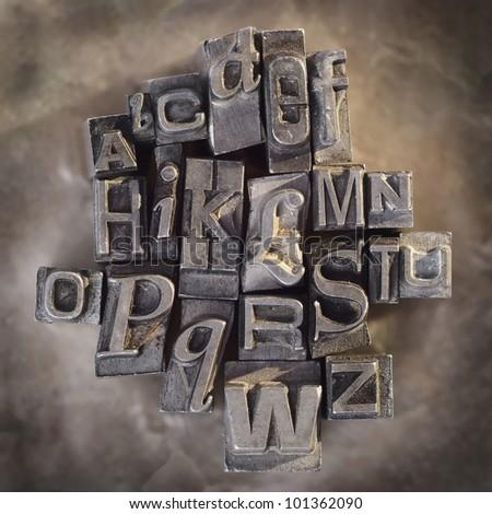 Letterpress letters vintage grunge alphabet background